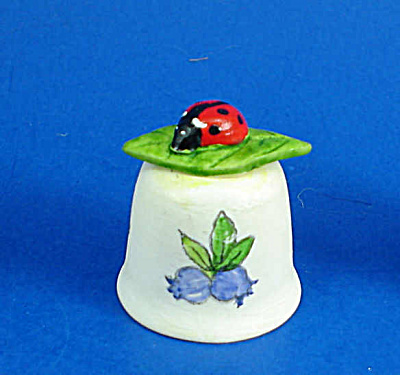 Hand Painted Ceramic Thimble - Ladybug On Leaf