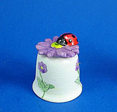 Hand Painted Ceramic Thimble - Ladybug on Flower (Image1)