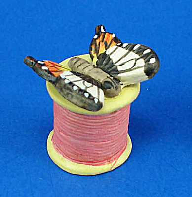 Hand Painted Ceramic Thimble - Butterfly On Spool