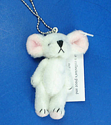 Miniature Plush White Mouse