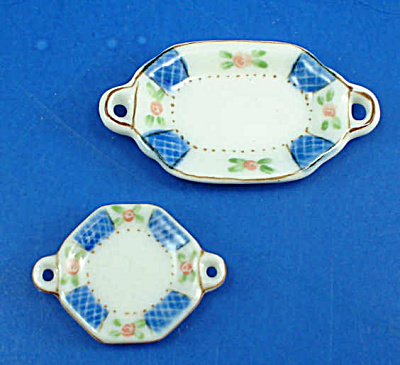 Dollhouse Miniature Platter Pair