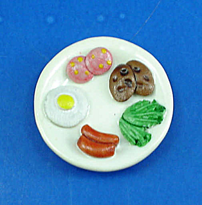Dollhouse Miniature Ceramic Plate With Food
