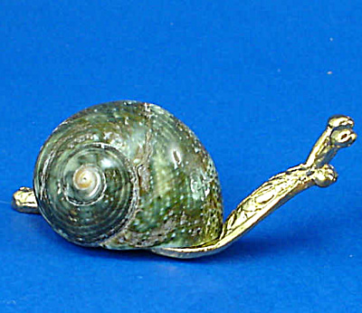 Miniature Metal And Shell Snail
