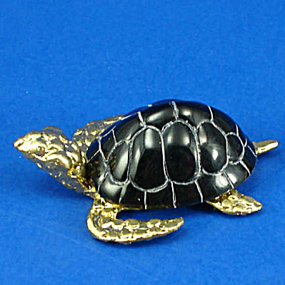 Miniature Metal and Shell Sea Turtle (Image1)