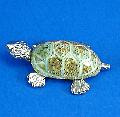 Miniature Metal And Shell Tortoise