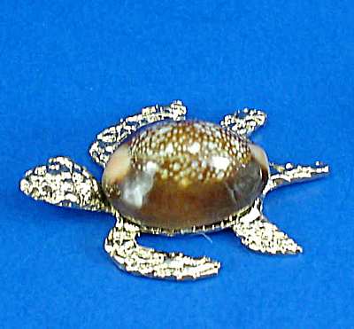 Miniature Metal And Shell Sea Turtle