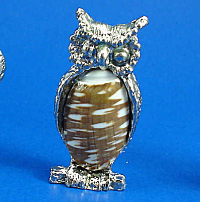 Miniature Metal And Shell Owl