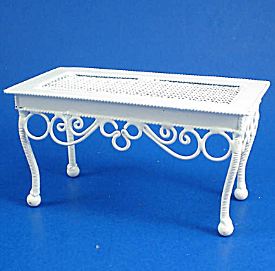 Dollhouse Miniature Wicker Style Metal Coffee Table