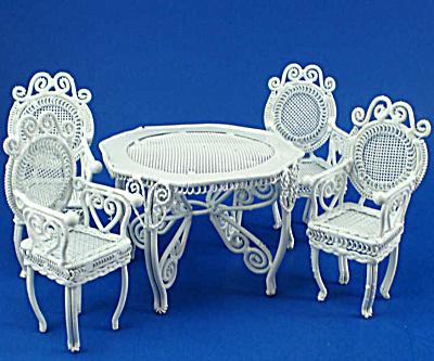 Dollhouse Miniature Wicker Style Metal Table And Chairs
