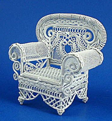Dollhouse Miniature Wicker Style Metal Chair