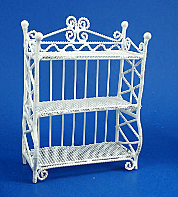 Dollhouse Miniature Wicker Style Metal Shelf