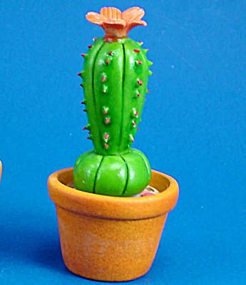 Dollhouse Miniature Ceramic Flowering Cactus (Image1)