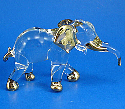 Klima Blown Glass Gold Trim Elephant (Image1)