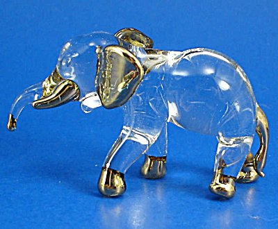 Blown Glass Gold Trim Elephant (Image1)