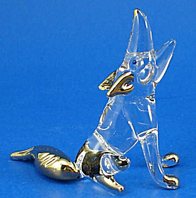 Blown Glass Gold Trim Howling Wolf (Image1)