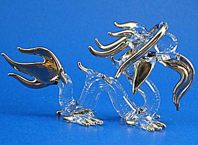 Blown Glass Gold Trim Dragon (Image1)