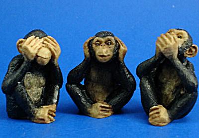 Miniature Morality Chimpanzee Trio (Image1)