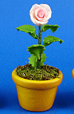 Dollhouse Miniature Rose In Clay Pot