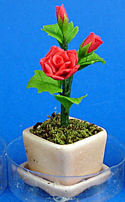 Dollhouse Miniature Red Roses in Planter (Image1)
