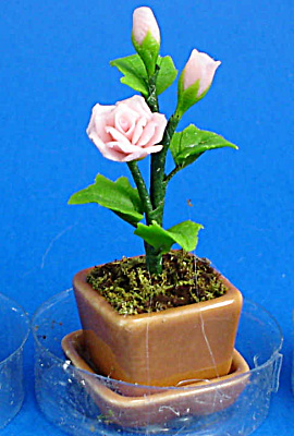 Dollhouse Miniature Pink Roses In Planter