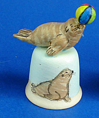 Handpainted Ceramic Thimble - Seal With Ball