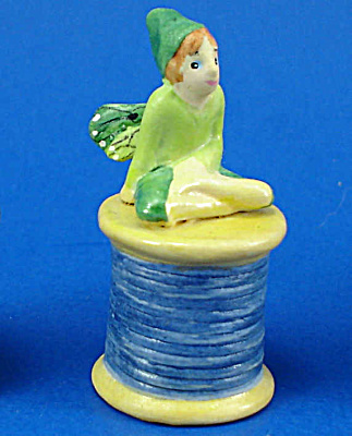 Handpainted Ceramic Thimble - Fairy on Spool (Image1)