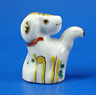 Hand Painted Porcelain Thimble - Dog