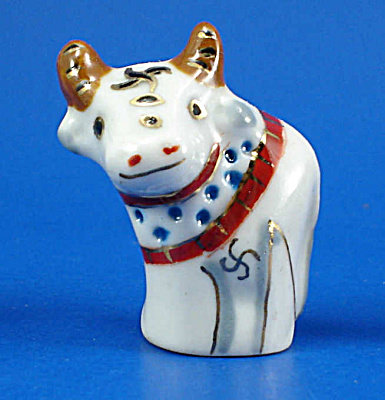 Hand Painted Porcelain Thimble - Bull (Image1)