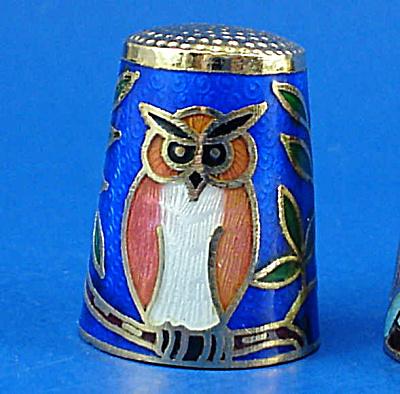 Klima Enameled Metal Thimble - Owl (Image1)