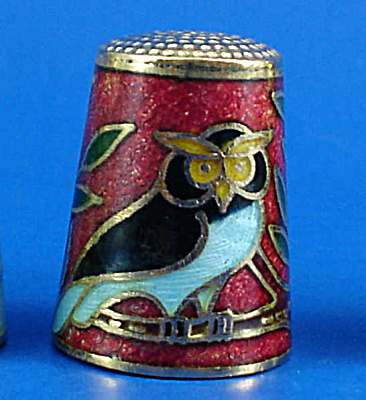 Enameled Metal Thimble - Owl (Image1)