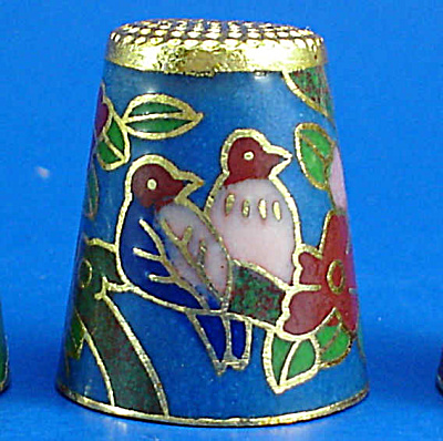 Enameled Metal Thimble - Birds (Image1)