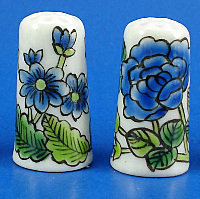 Hand Painted Porcelain Thimble Pair - Blue Floral (Image1)