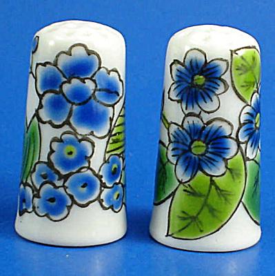 Hand Painted Porcelain Thimble Pair - Blue Floral (Image1)