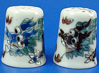 Hand Painted Porcelain Thimble Pair - Dragons (Image1)