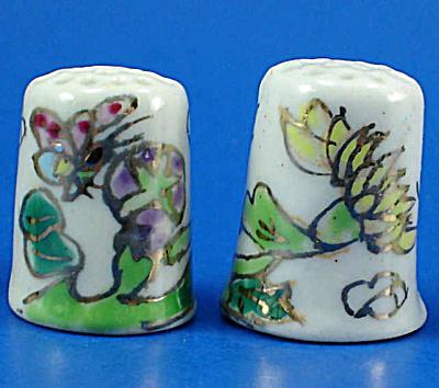 Hand Painted Porcelain Thimble Pair - Floral (Image1)
