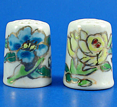 Hand Painted Porcelain Thimble Pair - Floral (Image1)