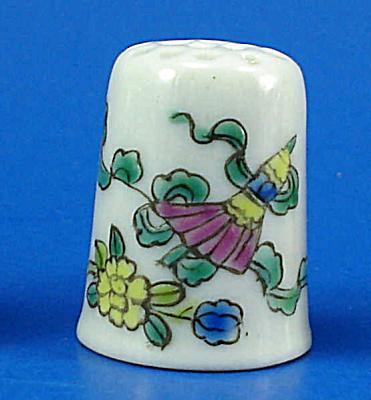 Hand Painted Porcelain Thimble - Floral (Image1)