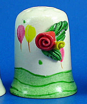 Hand Painted Ceramic Thimble - Rose on Side (Image1)