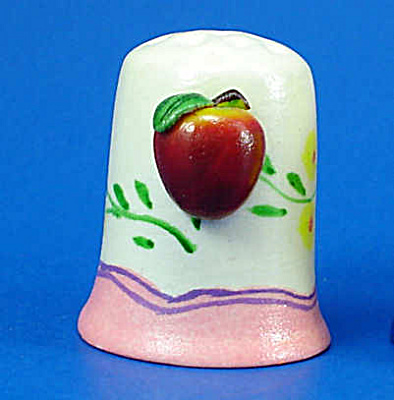 Hand Painted Ceramic Thimble - Apple on Side (Image1)