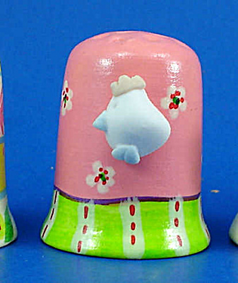 Hand Painted Ceramic Thimble - Bird on Side (Image1)