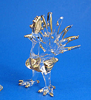 Blown Glass With Gold Trim Miniature Peacock