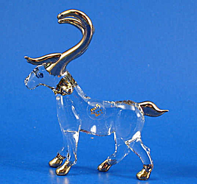 Blown Glass with Gold Trim Miniature Stag (Image1)