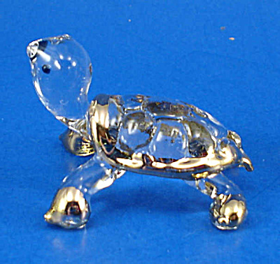 Blown Glass with Gold Trim Miniature Tortoise (Image1)