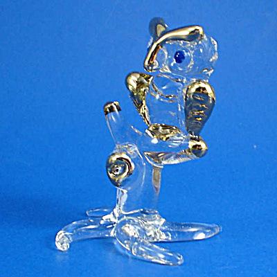 Blown Glass with Gold Trim Owl on Branch (Image1)
