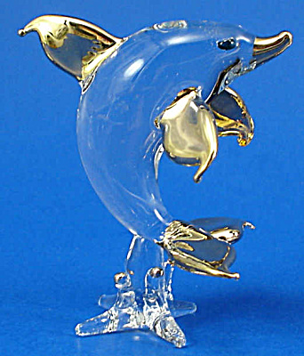 Blown Glass With Gold Trim Miniature Dolphin