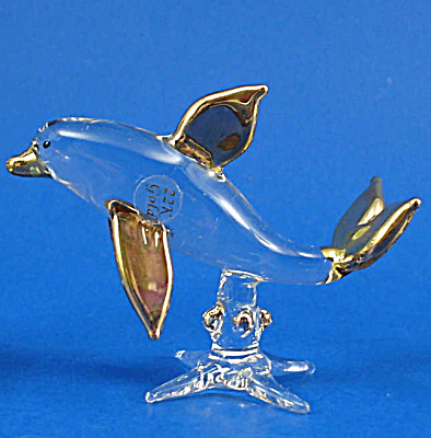 Blown Glass with Gold Trim Miniature Dolphin (Image1)