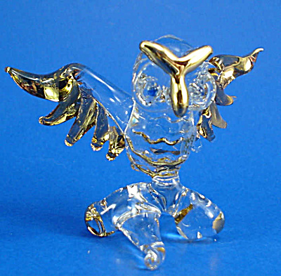 Blown Glass with Gold Trim Miniature Owl on Branch (Image1)