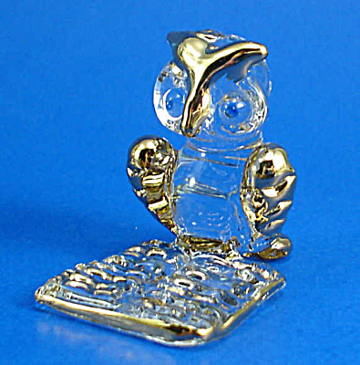 Blown Glass with Gold Trim Miniature Owl with Book (Image1)