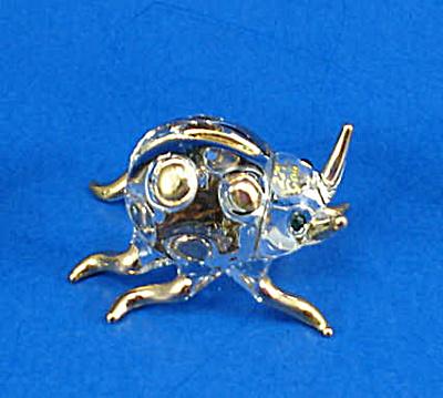 Blown Glass with Gold Trim Miniature Ladybug (Image1)
