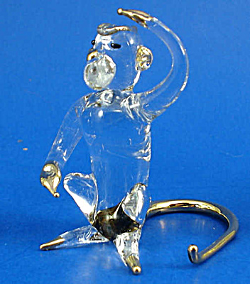 Blown Glass with Gold Trim Miniature Monkey (Image1)